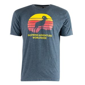 inline image t-shirt with an image of a sheep in front of the sun. Text states inspiring adventure worldwide