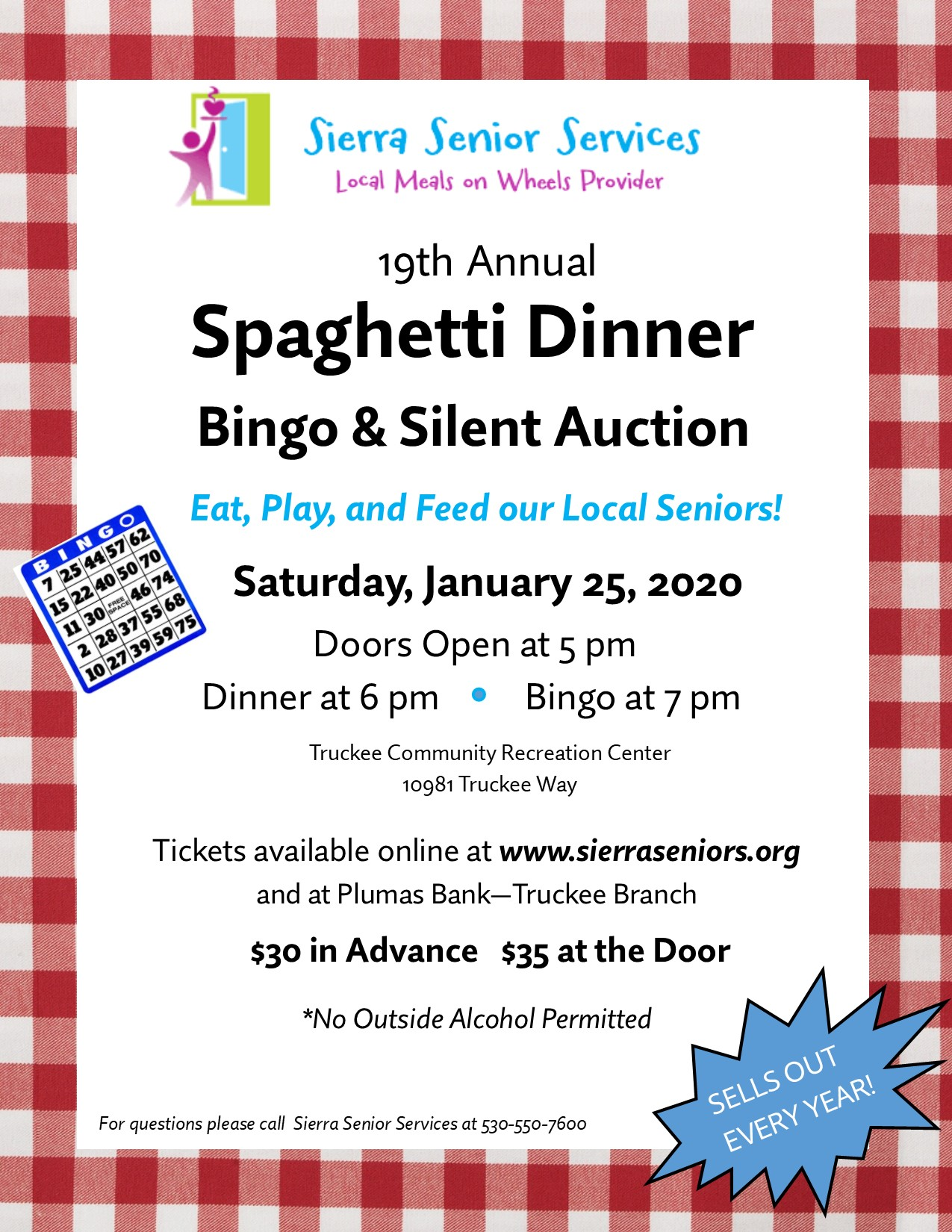 19th Annual Spaghetti Dinner Fundraiser Flyer