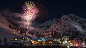 inline image winter fireworks lite up the night sky at Squaw Valley Resort