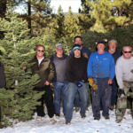 featured image showing a group of voluntters cutting and selling Christmas trees to support local youth
