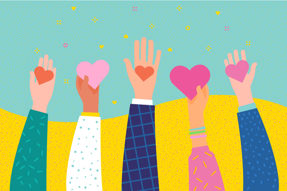 featured image illustration of many hands holding hearts