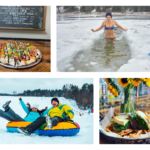 featured image showing a collage of local adventures like snow tubing and polar plunges with food pairings